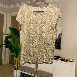 Ann Taylor LOFT linen front tie shirt leaf medium